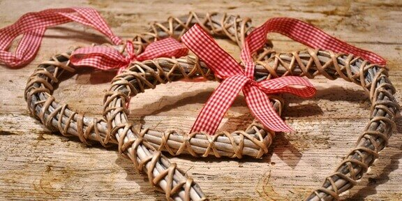 Crafting woven heart baskets